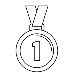 bowling medal icon outline style vector image