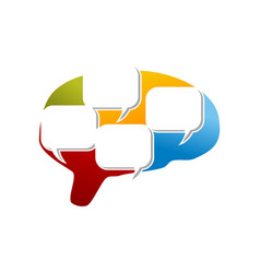 Brain communication logo design template vector