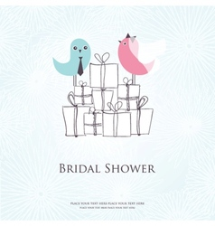 Bridal shower invitation with two cute birds in vector