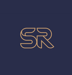 Brown blue line alphabet letter sr s r logo vector