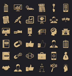 business seminar icons set simple style vector image