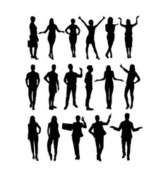 business standing silhouettes vector image
