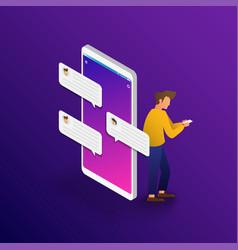businessman chatting conversation on smartphone vector image