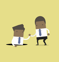 businessman helping his friend from the hole vector image