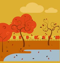 cartoon lake side simple art autumn scenery vector image