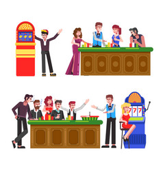 casino players at roulette wheel poker table and vector image