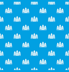 Children house castle pattern seamless blue vector