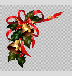 christmas decoration holly wreath bow gold bells vector image