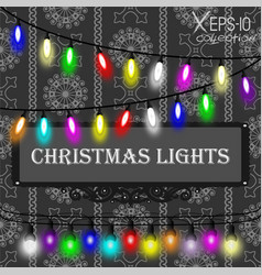 Christmas lights decorations set on grey seamless vector