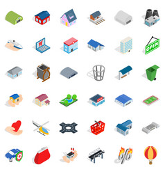 City element icons set isometric style vector