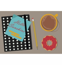 Coffee agenda and donuts on the table vector