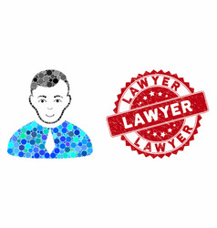 Collage lawyer with grunge lawyer stamp vector
