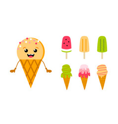 Colorful ice cream cones popscicle set for summer vector
