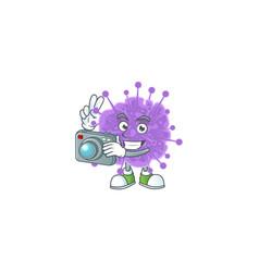 Coronavirus influenza photographer with a camera vector
