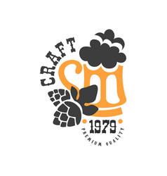 creative emblem with hop and mug of craft vector image