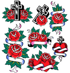 cross and rose design vector image