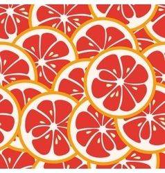 Cute seamless pattern with red grapefruit slices vector