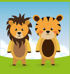 Cute tiger and lion in the field characters vector