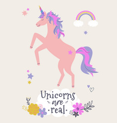 cute unicorn with flowers and rainbow modern vector image
