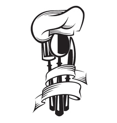 cutlery and hat vector image