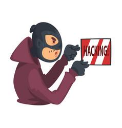 Data theft hacker wearing mask breaking into vector