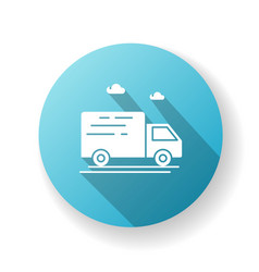 delivery truck blue flat design long shadow glyph vector image