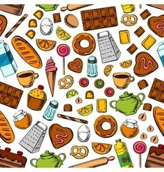 Desserts and kitchen utensils seamless background vector