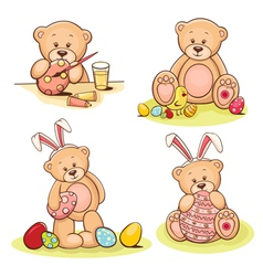 Easter teddy bears set vector