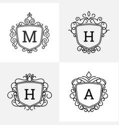 Elegant style emblem badge logo design vector