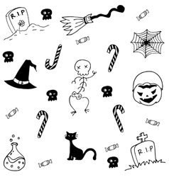 Element halloween candy tomb broom in doodle vector
