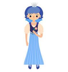 Fairytale princess in blue dress vector