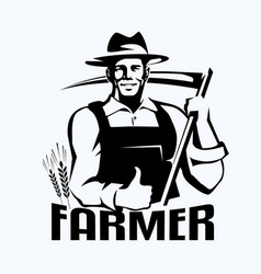 farmer stylized portrait organic products logo vector image
