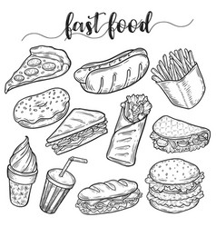 Fast or unhealthy junk food sketches hot dog vector