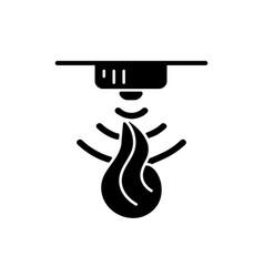 Fire sensor black glyph icon vector
