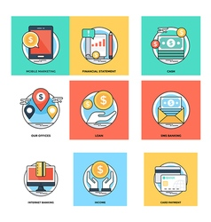 Flat Color Line Design Concepts Icons 16 vector image