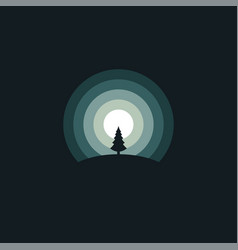 forest in night logo vector image