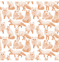 Fox seamless pattern sketch hand drawn vector