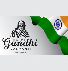 Gandhi jayanti 2nd october with realistic indian vector