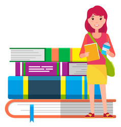girl stand near stack books student school vector image