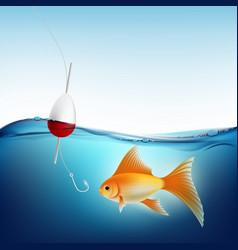 goldfish in water and a fishing hook with a float vector image
