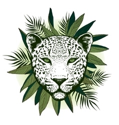 Graphical leopard with palm leaves vector