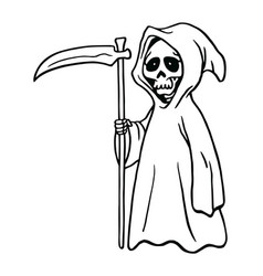 grim reaper drawing black and white drawing vector image