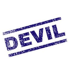 grunge textured devil stamp seal vector image