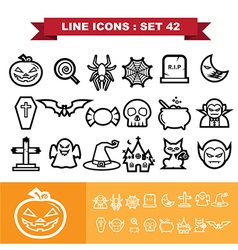 Halloween Line icons set 41 vector image