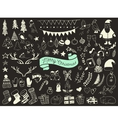Hand draw collection of christmas doodle elements vector