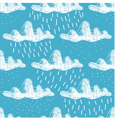 Hand-drawn white cumulus clouds with rain and snow vector