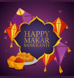 Happy makar sankranti emblem ceremony vector