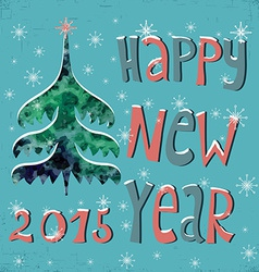 Happy New Year Greeting Card with watercolor vector