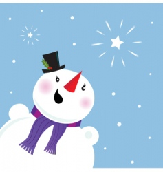 happy snowman looking at snow vector image