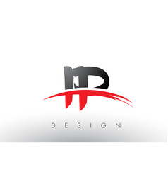 Ip i p brush logo letters with red and black vector